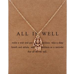 PREVIEW Hamsa Fatima Hand Gold Necklace & Card